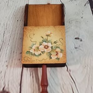 Wooden Hand Painted Wall Pocket Signed